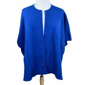 H by Halston Blue Open Front Poncho Style Cardigan